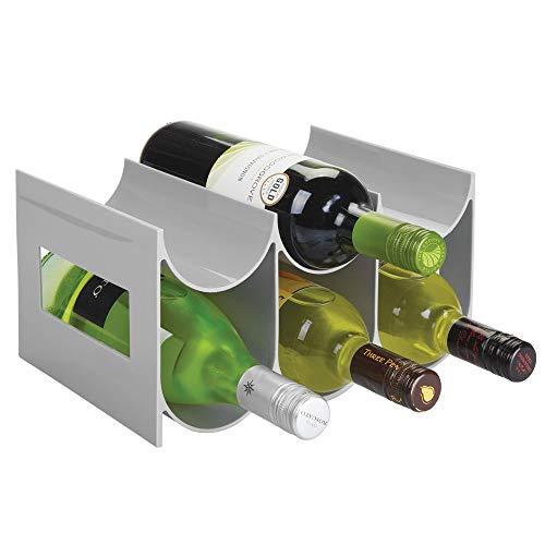 mDesign praktisches Wein- und Flaschenregal - Weinregal aus Kunststoff für bis zu sechs Flaschen - freistehendes Regal für Weinflaschen oder andere Getränke - grau