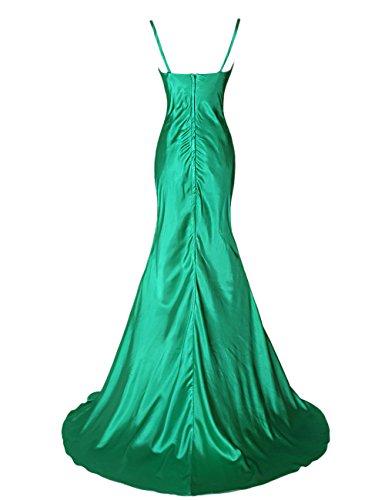 Dressystar sirène/trompette Robe de soirée longue,à bretelle,en satin Vert