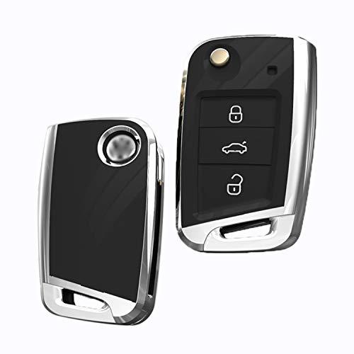 FancyAuto Autoschlüssel Fall für VW Volkswagen Tiguan Golf 7/7,5 Lamando Teramont Sportwagen Touran Lavida Bora Skoda Flip Smart Control ABS Key Cover Halter(schwarz) -