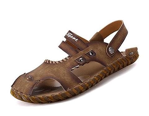 SHIXR Men Open Back Slippers Sommer Handgenäht Breathable Sandalen Weiche und bequeme Casual Cool Pantoffeln , dark brown , 40