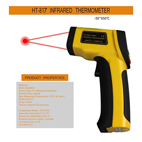 WEINANA Dual Laser LCD Display IR Infrared Thermometer -50 to 650 Degree Celsius Auto Temperature Meter Sensor HT-817 Handheld
