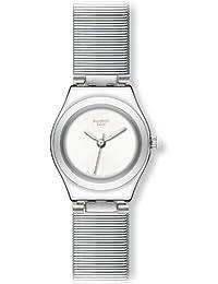 Swatch YSS266M - Reloj analógico de mujer de cuarzo con correa de acero inoxidable plateada