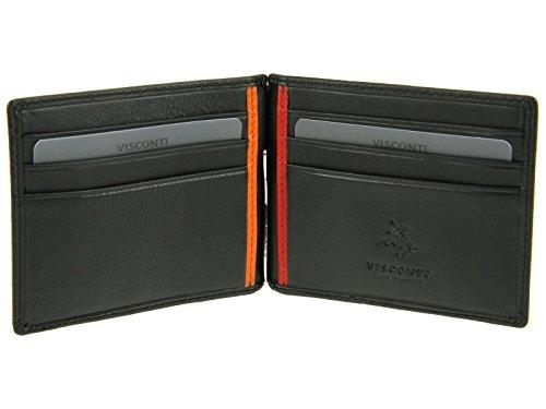 Visconti-Fermaglio per banconote da uomo a portafoglio in similpelle, per carte di credito, BD18 Note, colore: nero