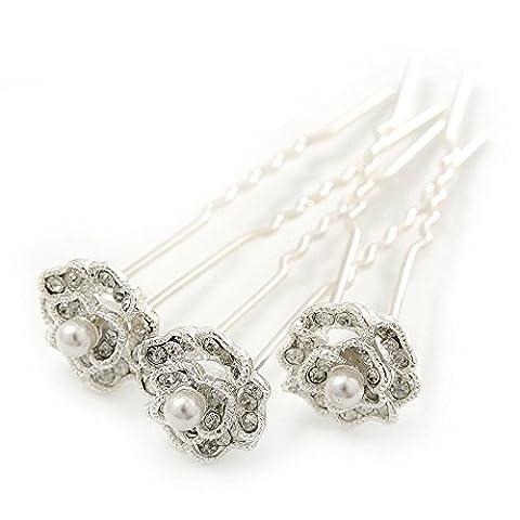 Mariage/mariage/soirée/Party Set de 3plaqué rhodium cristal perle artificielle fleur rose épingles à (Wedding Pearl Tema)