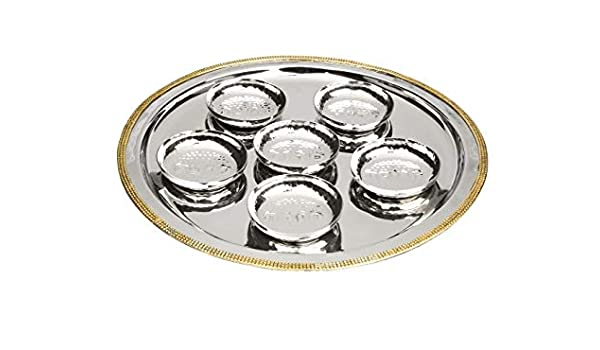 Traditional Passover Kaarah Pesach Plate Seder Plate with Beaded Border and Mini Bowls 14.25 Silver /& Gold