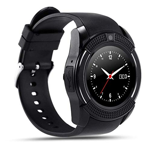 Smartwatch,Anding Bluetooth Smart Watch Damen Herren Sport Watch mit Kamera Schrittzähler Schlaf-Monitor Synchroner Anruf SMS Benachrichtigung,Unterstützung SIM und TF-Karten,für Android IOS.(Schwarz)