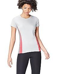 Activewear T-shirt Sportiva con Inserti a Contrasto Donna