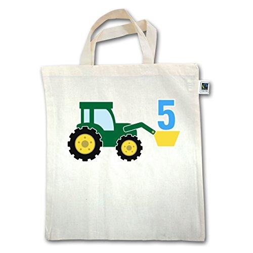 Geburtstag Kind - 5. Geburtstag Traktor - Unisize - Natural - XT500 - Jutebeutel kurzer Henkel