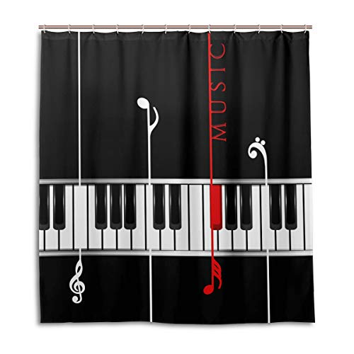 CPYang Cortinas Ducha Nota Música Piano Impermeable