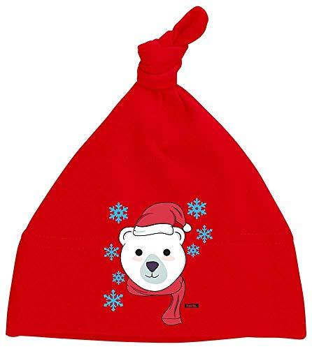 Hunde Eisbär Kostüm - HARIZ Baby Mütze Knoten Eisbär Schal Mütze Tiere Zoo Inkl. Geschenk Karte Feuerwehr Rot