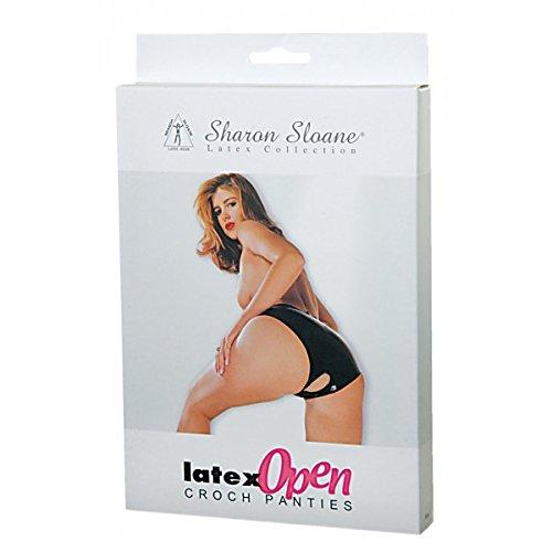 Sharon Sloane Latex Open Crotch Panties, Black, Medium, 105 g