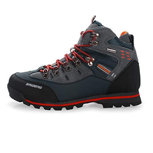 Romsion Herren Outdoor Mode Casual Wanderschuhe Wasserdicht Leder Schuhe Klettern & Angelschuhe 52 Dunkelorange