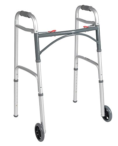 Drive Medical Deluxe Two Button Folding Walker with Wheels