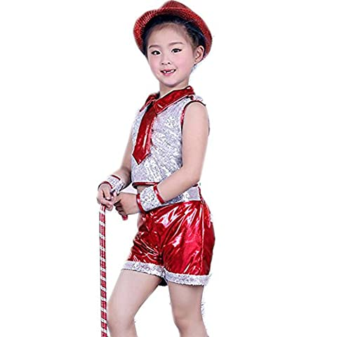 Wgwioo Kinder Sequins Jazz Tanz Kostüme Jungen Mädchen Kinder Bühne Aufführungen Jugend Komfort Hip Hop Studenten Chor Party Party Cheerleading Gruppe Team , Red , (Kleine Jungen Formal Wear)