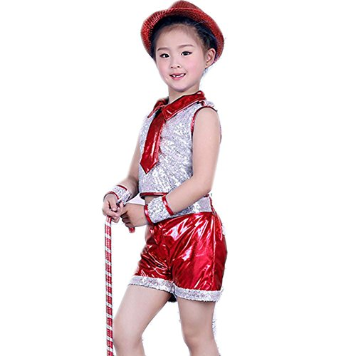 Wgwioo Kinder Sequins Jazz Tanz Kostüme Jungen Mädchen Kinder Bühne Aufführungen Jugend Komfort Hip Hop Studenten Chor Party Party Cheerleading Gruppe Team , Red , (Hip Dance Kostüme Jazz Hop)
