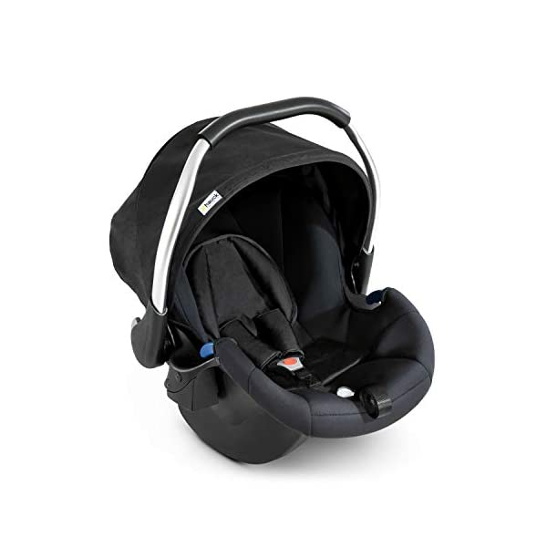 Hauck Comfort Fix Set, Lightweight Group 0 Car Seat with Isofix Base, ECE 44/04 from Birth to 13 kg, Side Impact Protection, Safety Indicators, Travel System, Black Hauck NEW-BORN CAR SEAT - This comfy car seat with ergonomically shaped carry handle made of aluminium, breathable fabrics, head protection, seat minimizer, and sun hood is suitable from birth up to 13 kg SAFETY - The Comfort Fix car seat is approved to ECE 44/04. With its side-impact protection, tried and tested energy-absorbing foam in head and shoulder area, as well as 3-point harness, it has also received best crash test results by ADAC (2.1) TRAVEL SYSTEM - Combine the car seat with hauck pushchairs Rapid 3, Rapid 4, Rapid 4S, Rapid 4X, Atlantic, Maxan 3, Maxan 4 and their Trios, Duett 3, Rapid 3R Duo without adapters, and Vegas, Lift Up 4 as well as Duett 2 with adapters 8
