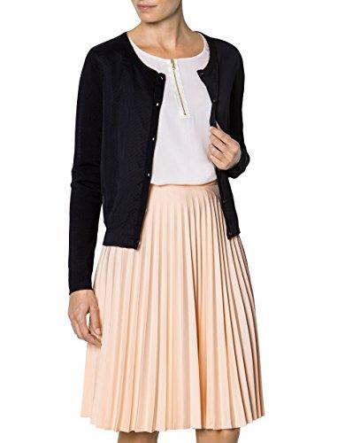 KOOKAI Damen Cardigan Mikrofaser Jacke Unifarben, Größe: T3, Farbe: Schwarz