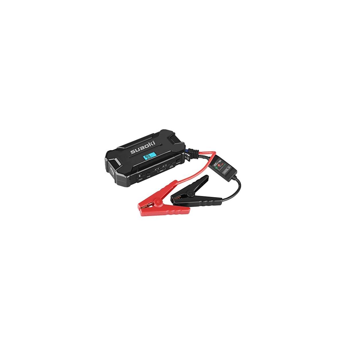 41jPr%2BFLKLL. SS1200  - SUAOKI D21 - Jump Starter Arrancador de 15000mAh, 500A Arranque de batería para Coche (Dual USB 2.1A bateria portátil para Smartphones, Tablets, LED SOS) Negro