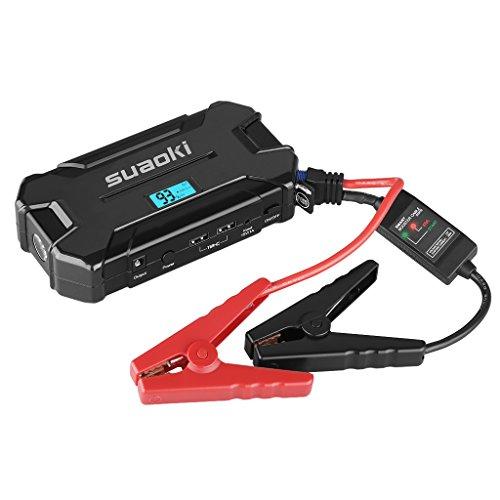 Suaoki D21 - Jump Starter Arrancador de 15000mAh, 500A arranque de batería para coche (Dual USB 2.1A bateria portátil para smartphones, tablets, LED SOS) Negro