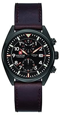 Swiss Military Men's SM34302AEU/H03S Quartz Watch with Black Dial Analogue Display and Leather Strap