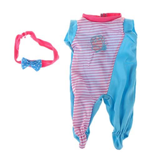 FLAMEER Schöne Babypuppe Kleidung Strampler Jumpsuit Hausanzug Overall für 18 Zoll Puppe Dress Up - B (Dress Up Doll Für Jungen)