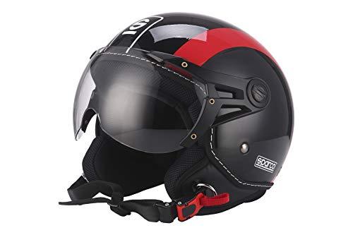 Sparco Riders Casco Moto Demi Jet, Nero/Rosso, Taglia M