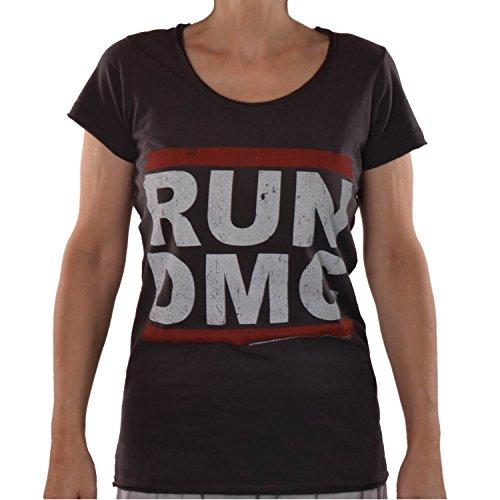 Hip-hop-holzkohle (Amplified Damen Lady T-Shirt Grau Holzkohle Charcoal Anthrazit Official RUN DMC Merchandise Logo Hip Hop Rap 80 er Rock Star Vintage Nähte Aussen ViP Rockstar S 36/38)