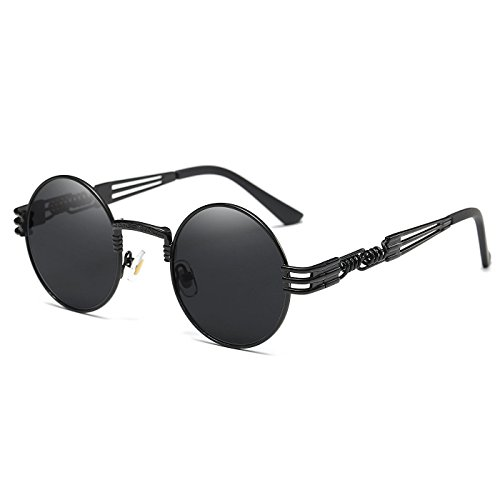 TEMPO Round Metal Frame Sunlasses Steampunk Vintage Driving Polarized Glasses with Spring Frame for Men and Women(Black Frame/Black Lens)