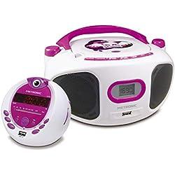 Metronic 477290 Offre Enfant Miss Angel - Radio CD-MP3 et Radio-réveil Projection - Violet