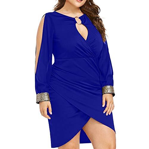ESAILQ Frau Mode Langarm Pailletten Plus GrößE Keyhole Hals Ring Slit Figurbetontes Kleid(X-Large,Blau)