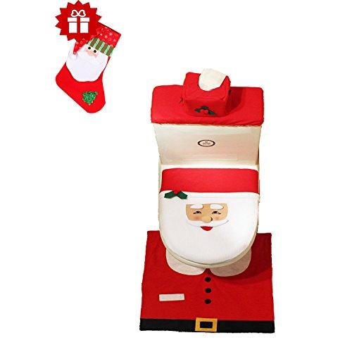 Decorazioni di Natale Babbo sedile WC insieme di 3 coperchio e tappeto & scatola del tessuto di copertura insieme
