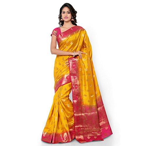 Varkala Silk Sarees Blended Saree (Nd1010Mdrn_Mustard & Pink)