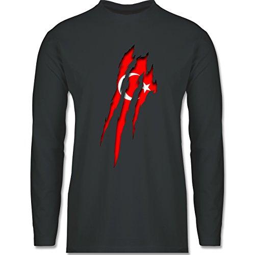 Länder - Türkei Krallenspuren - Longsleeve / langärmeliges T-Shirt für Herren Anthrazit