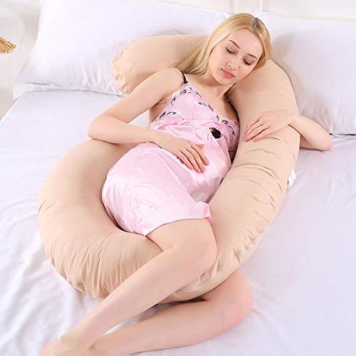 H-zhen C-förmiges Schwangerschaftskissen, Rückenstütze für Schwangere Stillen in Kuschelform in voller Länge mit KOSTENLOSEM abnehmbarem Bezug 130 * 75 cm,E