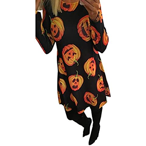 Amlaiworld Ladies Swing zucca di Halloween Mini abito manica lunga