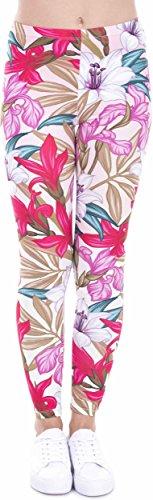 Loomiloo Leggings Damen Mädchen - Leggins Hose Blumen Blüten Sommer Strand Fitness Sport Yoga (Paradise Flowers)