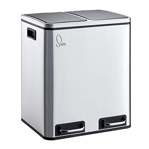 SVITA Treteimer 30 Liter (2x15L) oder 54 Liter (3x18L) Abfalleimer Mülleimer Design Mülltrennung Edelstahl (30 Liter (2x15L))