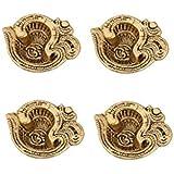 Diya Set of 4 pc in Metal om Shape Antique Golden Finish by Handicrafts Paradise