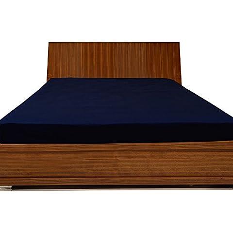 300tc 100% algodón egipcio elegante acabado 1pieza sábana bajera sólido (tamaño de bolsillo: 26pulgadas), algodón, Navy Blue Solid, UK_Super_King
