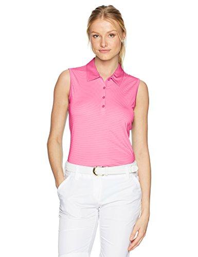 EP Pro Golf Damen Ärmellos Stripe Jersey Polo, Damen, Rosa -