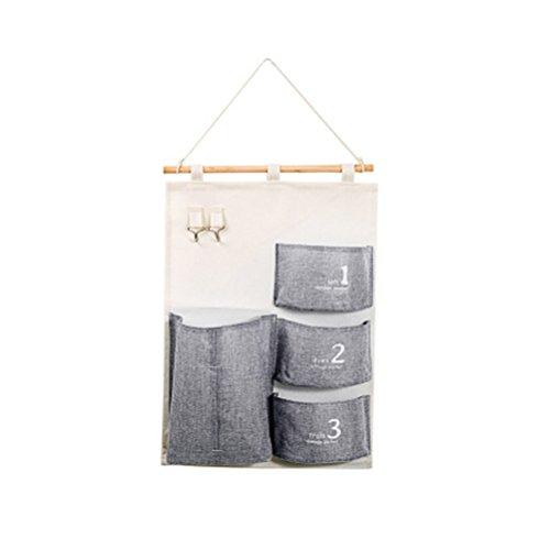 Inwagui Tasche Wand hängenden Beutel 4 Tasche Tür zurück Aufbewahrungstasche Hängende Rückwand hing Türtasche Utensilo 58*35cm Hängeorganizer-Grey (Blumen-wand-tasche)