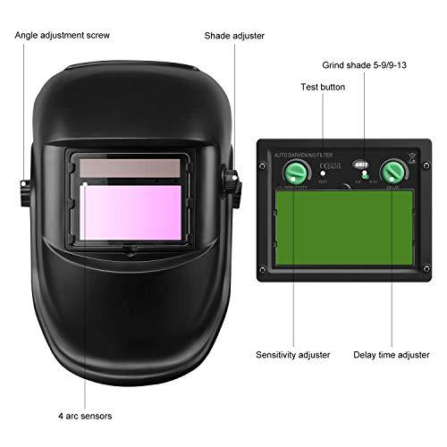 Casco integrale per saldatura, a energia solare, oscuramento automatico, funzione di levigatura, grande dimensione visiva, maschera protettiva per gli occhi, ampia area di ombreggiatura 3/4-8/9-13
