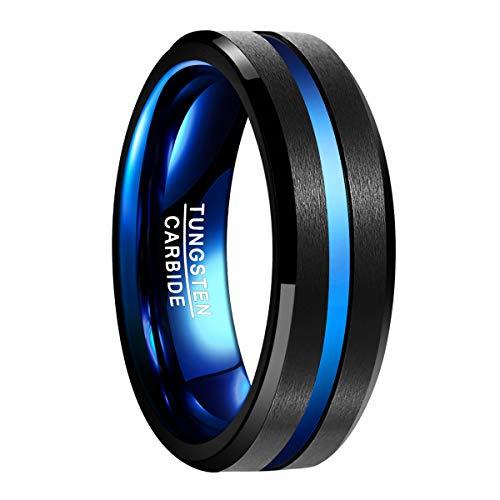 Natur Fashion - Ring für Herren & Damen aus Wolframcarbid Schwarz Blau mit Groove 7mm für Hochzeit Valentinstag Fasching Men Fashion Größe 57 (18.1) (Größe 7 Herren Ringe,)