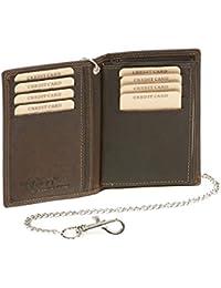 Biker portefeuille porte-cartes pour pièce d'identité et porte-cartes avec la chaîne chrome format portrait LEAS MCL, cuir véritable, marron - ''LEAS Chain-Series''