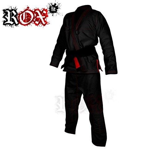 ROX Fit BJJ Gi trajes para la competencia Brazilian Jiu Jitsu Brasileño, color negro con costuras de color rojo, A0, A1, A2, A3, A4, A5, A6, color Negro - Black Suit With Red Stitching, tamaño A0
