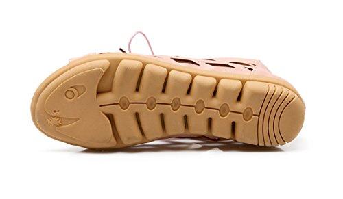 UH Sandales Bottes Femmes Creux Classique de Retour Zip et Lacets Fermeture Peep Toe Talons Plates Rose