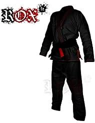 ROX Fit BJJ Gi Anzüge für Wettbewerb Brazilian Jiu Jitsu Gi Kimono Suit – Schwarz mit roter Naht, A0, A1, A2, A3, A4, A5, A6