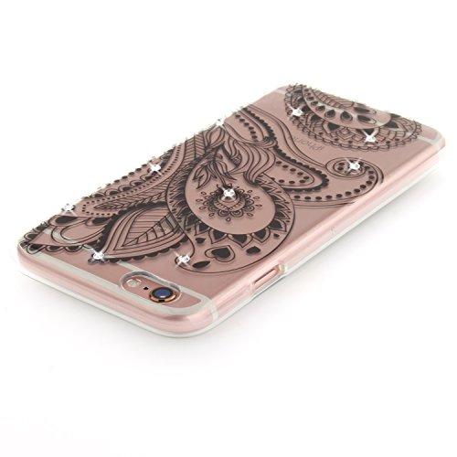 Coque iPhone 6S, Étui iPhone 6, iPhone 6S/iPhone 6 Case, ikasus® Coque iPhone 6S/iPhone 6 Fleur peinte avec Luxe Shiny Glitter Strass Cristal Brillant Bling Diamant Housse Transparent TPU Silicone Étu Fleur de paon