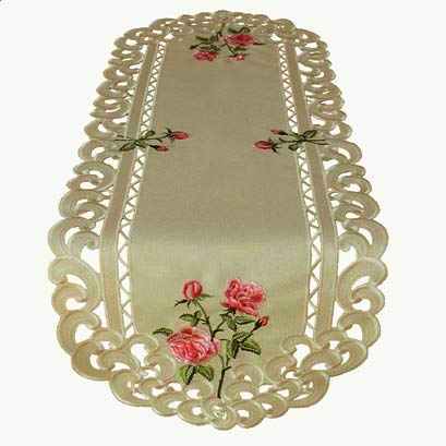 Kamaca Serie Rose in Creme beige - wundervolles Gewebe mit Leinencharakter mit zauberhaft gestickten Rosen und Cutwork EIN absoluter HINGUCKER (Tischläufer 40x110 oval) -