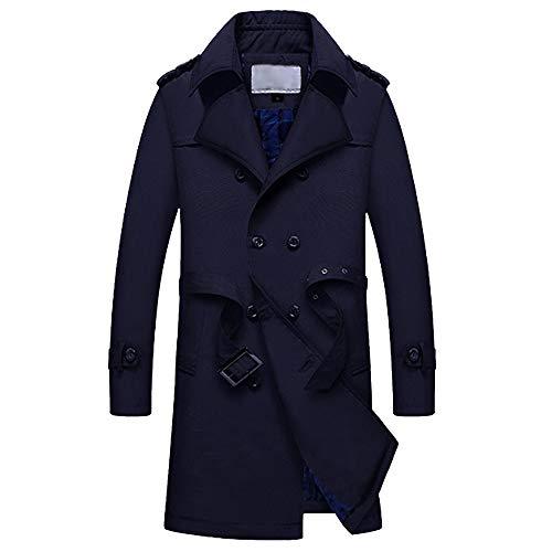 TWBB Herren Winter Windjacke Lange Tailcoat Jacket Mit Gürtel Outwear Knöpfe Mantel Coat Einfarbig Lange Ärmel Hemd